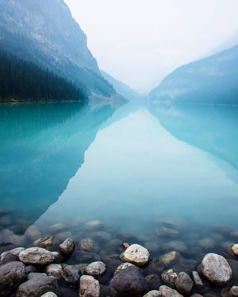 Lake Louise, Canada  It was kinda foggy, but still gorgeous.